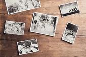 Family photos on wood