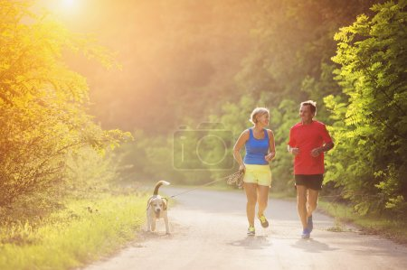 Photo for Active seniors running with their dog outside in green nature - Royalty Free Image