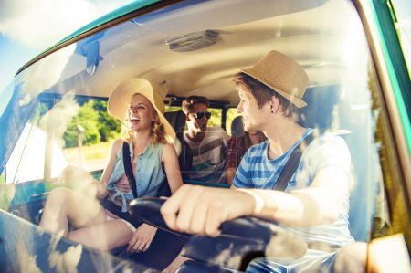 Beautiful young people on a road trip