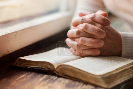 Photo for Unrecognizable woman holding a bible in her hands and praying - Royalty Free Image
