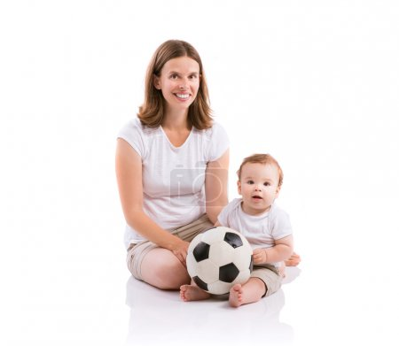 Photo for Beautiful mother with her son. Studio shot on white background - Royalty Free Image