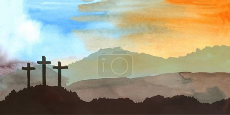 Easter scene with crosses on hill