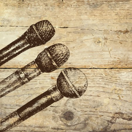 Conference template illustration with microphones ...