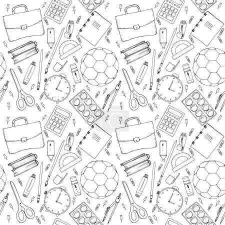 Illustration pour Modèle sans couture dessiné à la main avec des articles scolaires - image libre de droit