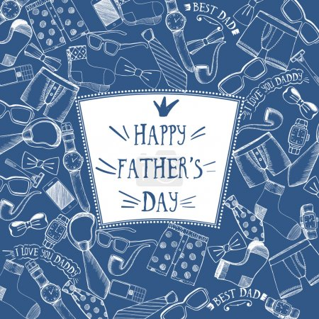 Illustration for Beautiful Fathers day greeting with various icons.  Vector illustration - Royalty Free Image