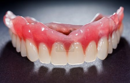 The artificial denture on isolated  black backgrou...
