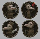 Set of emblems with Plague doctors