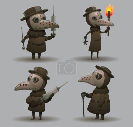 Illustration pour Ensemble vectoriel de médecins de la peste. Image de dessin animé de quatre médecins de la peste en manteaux gris, chapeaux et masques de la peste avec différents attributs dans leurs mains sur un fond gris clair . - image libre de droit