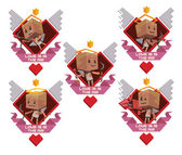 Set of labels with Cube cupids