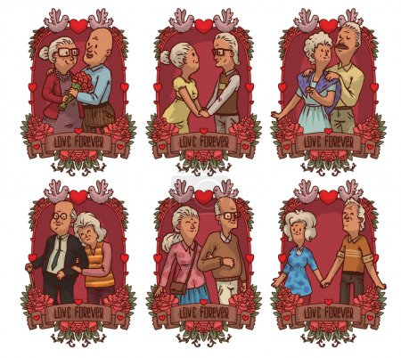 Set of six red frames with older couples