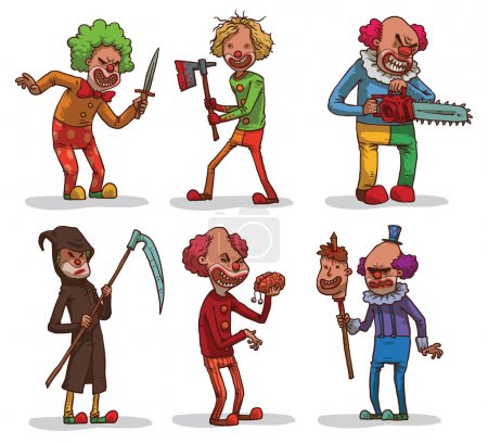 Illustration for Vector set of images of evil clowns with a different hair color in colored clothes with different cold weapons in the hands on a light background. In the theme of Halloween. Vector illustration. - Royalty Free Image