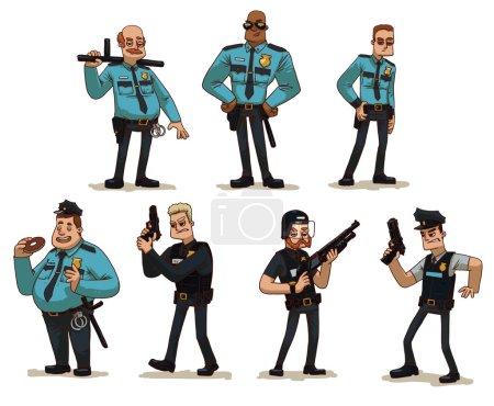Illustration pour Image vectorielle de dessin animé d'un ensemble de différents hommes policiers en uniforme de police avec diverses armes dans leurs mains dans diverses poses sur un fond clair. Des policiers. Illustration vectorielle . - image libre de droit