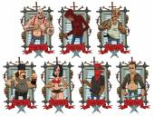 Vector image of a set of gray metal frames with barbed wire skulls bones knives red banners and with cartoon images of different criminals on a light background Crime Vector illustration