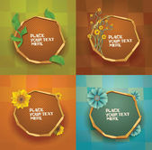 Round floral banners set