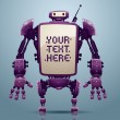 Vector purple big robot banner on a blue background. The text written in the curve.