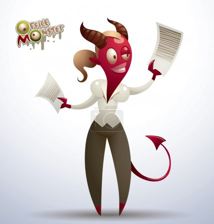 Red office monster-woman