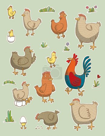 Set funny chickens