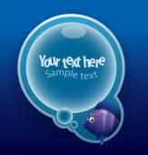 Purple cartoon tropical fish banner