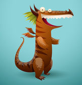 Vector funny dragon brown color Image of funny cartoon smiling dragon brown color on a blue background