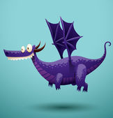Vector funny dragon purple color Image of funny cartoon smiling dragon purple color on a blue background