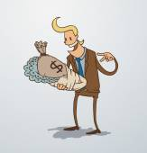 Vector man holding a bag of money as baby Cartoon image of a man blonde in a brown suit which holds a bag of money wrapped like a baby on a light background