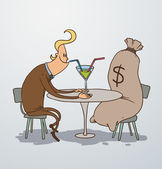 Vector man on a date with bag of money Cartoon image of a man blonde in a brown suit sitting at a table with a cocktail and a big bag of money as on a date on a light background