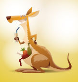 Funny kangaroo with a drink
