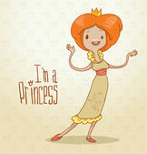 Vector modern princess with ginger hair Cartoon image of a modern princess with ginger hair with a crown on her head dressed in a yellow dress on a light background The text is written in the curves