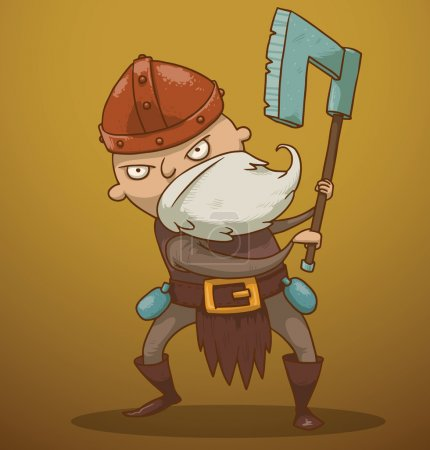 Illustration for Vector funny gnome with an ax. Cartoon image of a funny gnome with a white beard dressed in a gray suit of armor and a red helmet standing with an ax in his hands on a yellow-brown background. - Royalty Free Image