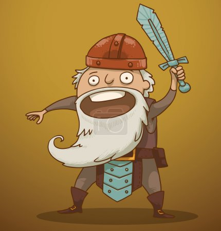 Illustration for Vector funny gnome with a sword. Cartoon image of a funny gnome with a white beard dressed in a gray suit of armor and a red helmet standing with a sword in his hand on a yellow-brown background. - Royalty Free Image
