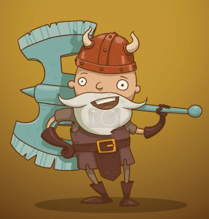 Illustration for Vector funny gnome with a huge ax. Cartoon image of a funny gnome with a white beard dressed in a gray suit of armor and a red helmet standing with a huge ax in his hand on a yellow-brown background. - Royalty Free Image