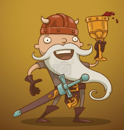 Illustration for Vector funny gnome with a goblet of wine. Cartoon image of a funny gnome with a white beard dressed in a gray suit of armor and a red helmet standing with a goblet of wine in his hand on a yellow-brown background. - Royalty Free Image
