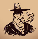 Vector gangster with a cigar Image of a gangster in black suit tie and black hat with a cigar in his mouth on a beige background