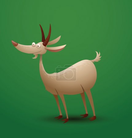 Illustration for Vector funny goat stands. Cartoon image of a funny white goat which stands on a bright green background. - Royalty Free Image
