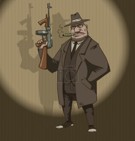 Mafiosi with a machinegun