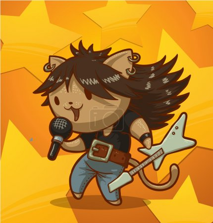 Illustration for Vector illustration of cat man rock singer - Royalty Free Image