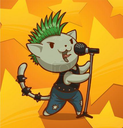 Illustration for Vector illustration of cat punk singer - Royalty Free Image