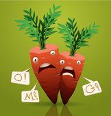 šokovaný kreslený mrkev