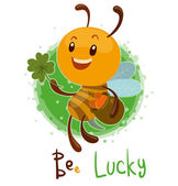 Vector illustration of cute bee lucky