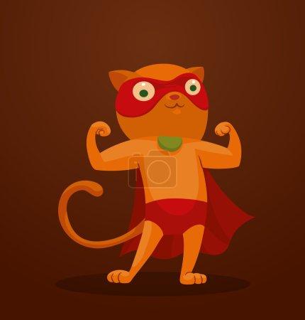 superhero cat flexing muscles