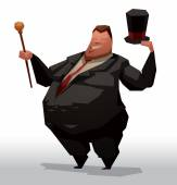 Fat businessman with hat