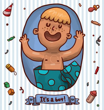 Illustration for Vector illustration of cute boy in gift box - Royalty Free Image