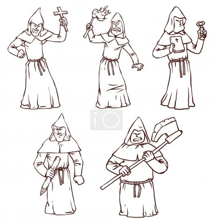 Vector illustration of inquisitors in robes with h...