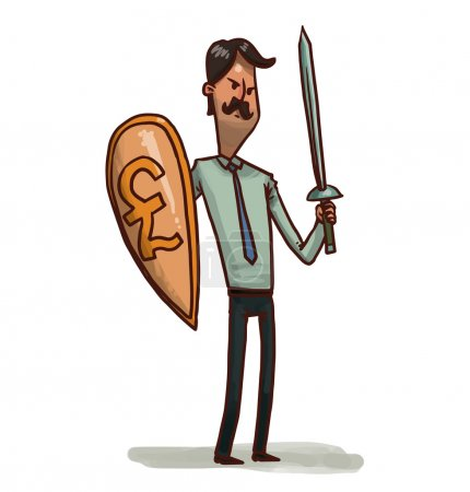 Illustration for Vector illustration of Financial warrior with pound shield and sword - Royalty Free Image