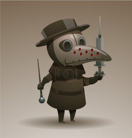 Illustration pour Illustration vectorielle de Médecin de la peste avec la seringue et la canne - image libre de droit