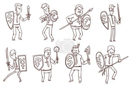 Illustration for Vector illustration of Financial warriors set - Royalty Free Image