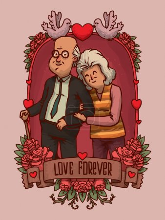 Illustration for Vector illustration of Frame with Happy old couple strolling - Royalty Free Image