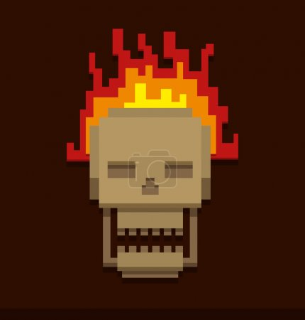 Pixel Skull in fire