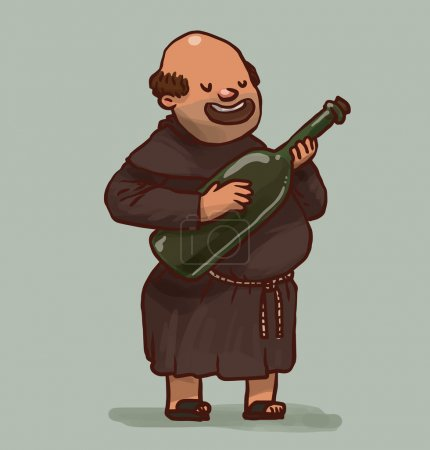 Vector illustration of Monk with big bottle of win...