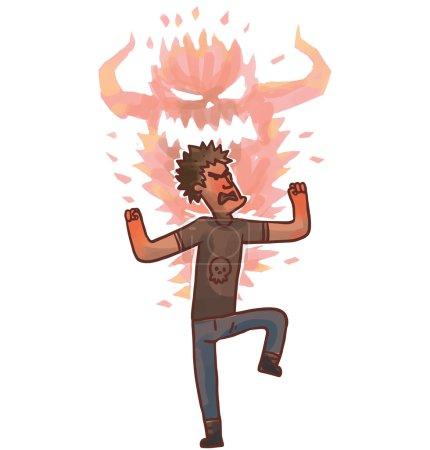 Illustration pour Illustration vectorielle de dessin animé homme en colère - image libre de droit